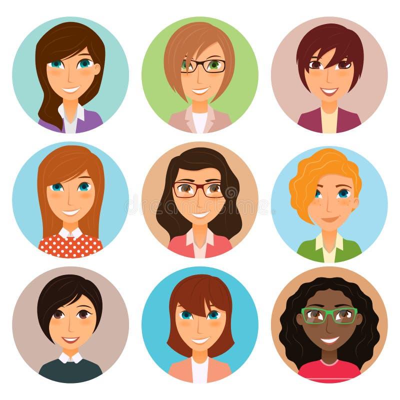 Συλλογή των ειδώλων των διάφορων νέων χαρακτήρων γυναικών απεικόνιση αποθεμάτων