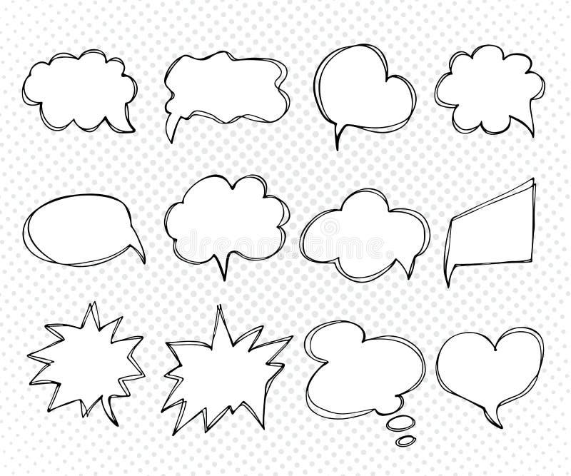 Συλλογή των λεκτικών φυσαλίδων προτύπων Χέρι που σύρεται, doodles διανυσματική απεικόνιση