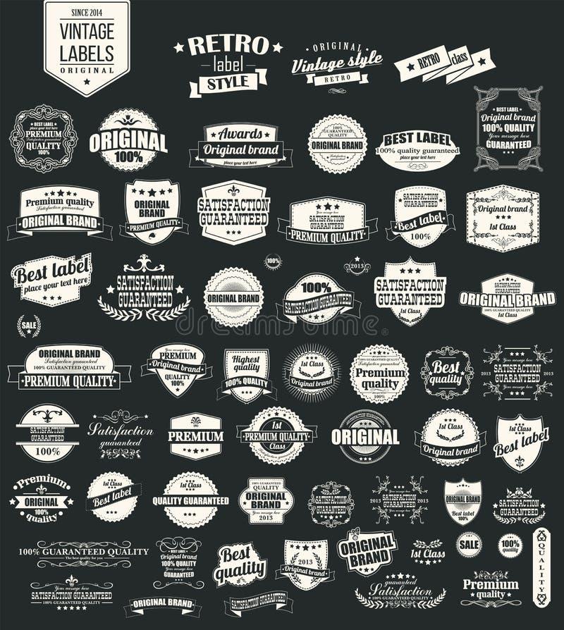 Συλλογή των εκλεκτής ποιότητας αναδρομικών ετικετών, διακριτικά, γραμματόσημα, κορδέλλες διανυσματική απεικόνιση