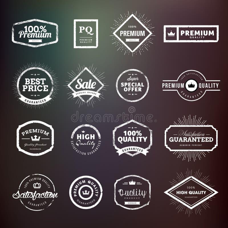 Συλλογή των εκλεκτής ποιότητας συρμένων χέρι διακριτικών και των αυτοκόλλητων ετικεττών εξαιρετικής ποιότητας για τους σχεδιαστές διανυσματική απεικόνιση