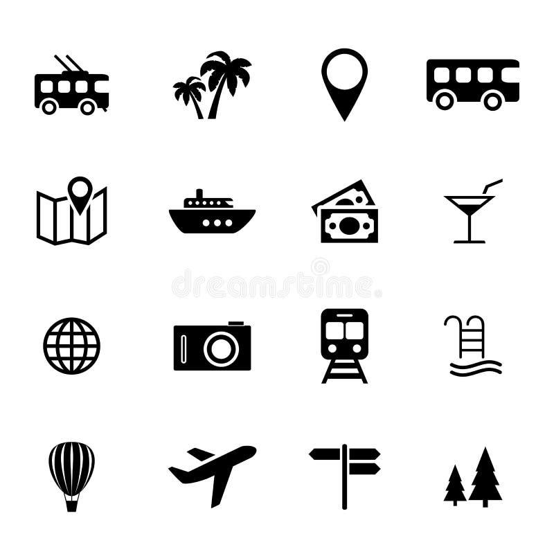Συλλογή των επίπεδων εικονιδίων - διακοπές, ταξίδι, μεταφορά και διακοπές - σχετικά με τον τουρισμό εικονίδια διανυσματική απεικόνιση