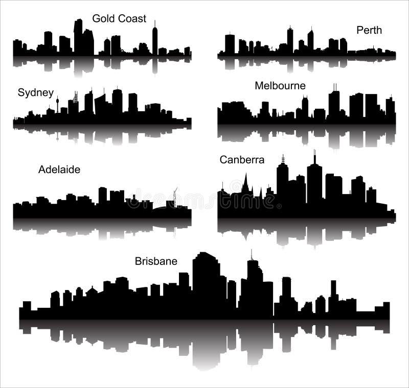 Συλλογή των λεπτομερών διανυσματικών σκιαγραφιών των αυστραλιανών πόλεων διανυσματική απεικόνιση