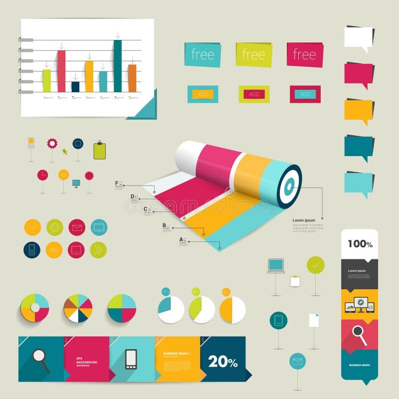 Συλλογή των ζωηρόχρωμων επίπεδων και τρισδιάστατων infographic στοιχείων διανυσματική απεικόνιση