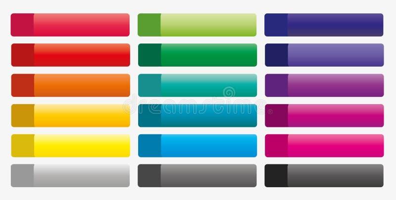 Συλλογή των ζωηρόχρωμων κουμπιών για τον Ιστό ελεύθερη απεικόνιση δικαιώματος