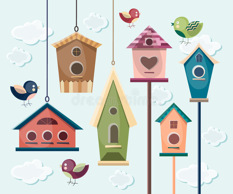 Συλλογή των ζωηρόχρωμων πουλιών και birdhouses ελεύθερη απεικόνιση δικαιώματος