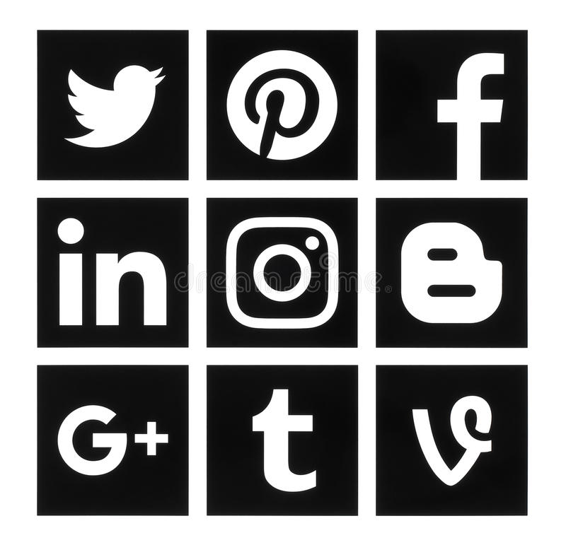 Συλλογή των δημοφιλών τετραγωνικών μαύρων κοινωνικών λογότυπων μέσων διανυσματική απεικόνιση