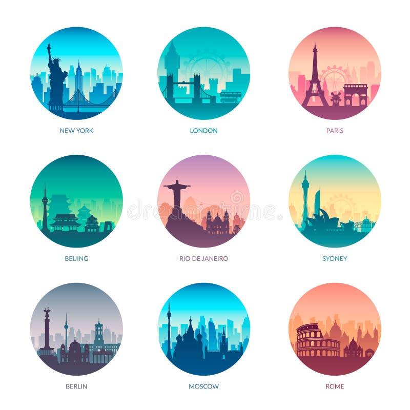 Συλλογή των διάσημων ακρωτηρίων πόλεων ελεύθερη απεικόνιση δικαιώματος
