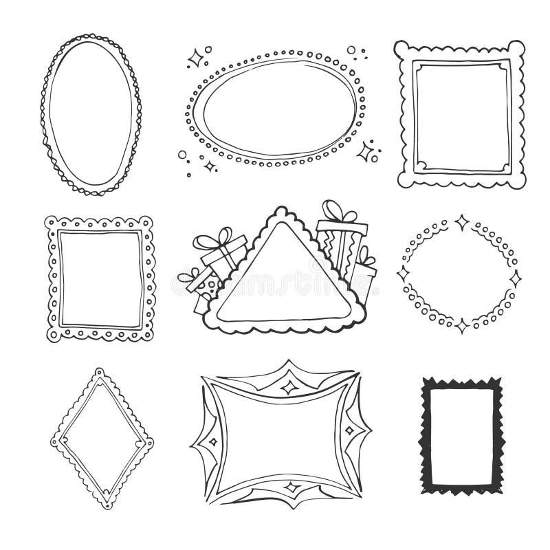 Συλλογή των διακοσμητικών πλαισίων βρόχων διανυσματική απεικόνιση