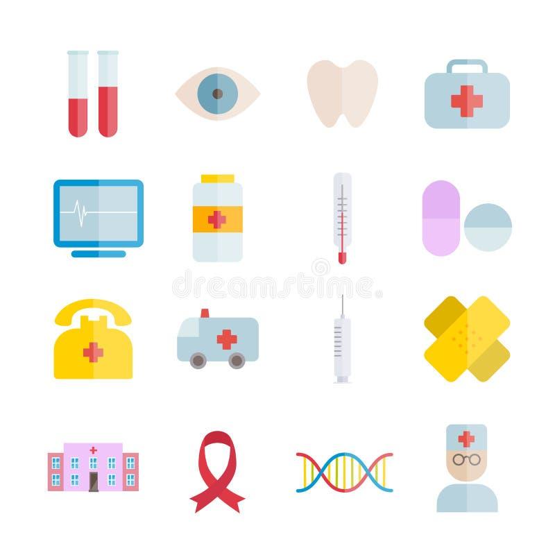Συλλογή των διανυσματικών επίπεδων ιατρικών εικονιδίων διανυσματική απεικόνιση