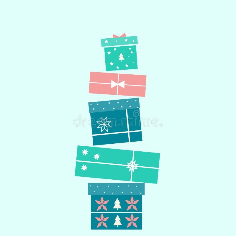 Συλλογή των διανυσματικών ζωηρόχρωμων κιβωτίων δώρων Χριστουγέννων Απεικόνιση διακοπών απεικόνιση αποθεμάτων