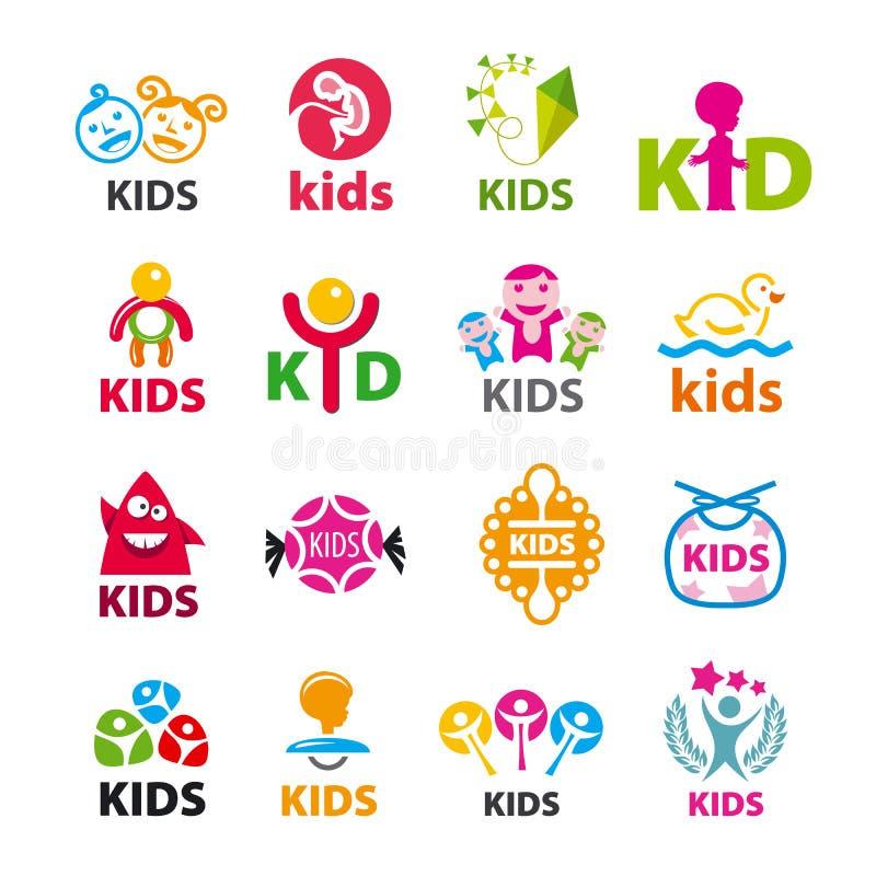 Συλλογή των διανυσματικών παιδιών λογότυπων ελεύθερη απεικόνιση δικαιώματος