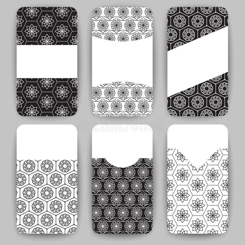 Συλλογή των διανυσματικών προτύπων καρτών με τη γεωμετρική διακόσμηση διανυσματική απεικόνιση