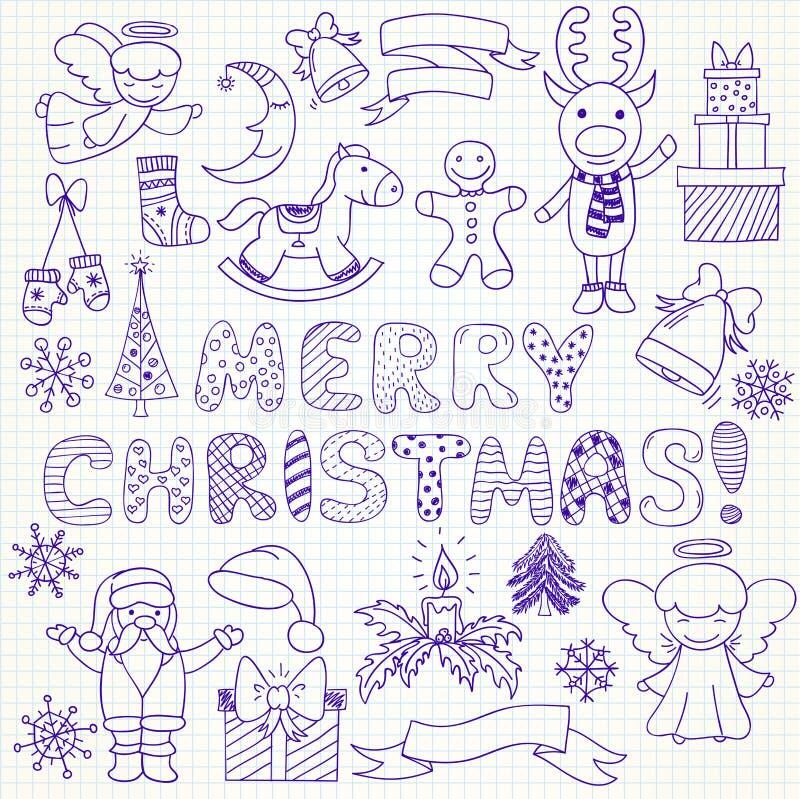 Συλλογή των διανυσματικών χαρακτήρων και των διακοσμήσεων Χριστουγέννων διανυσματική απεικόνιση