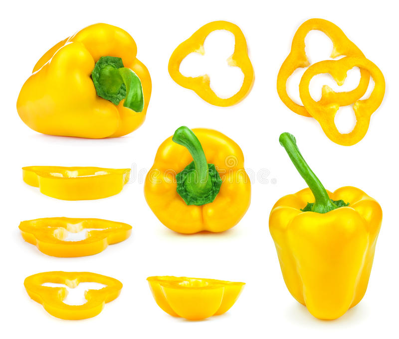 Συλλογή των κίτρινων πιπεριών κουδουνιών και των φετών στοκ φωτογραφίες με δικαίωμα ελεύθερης χρήσης