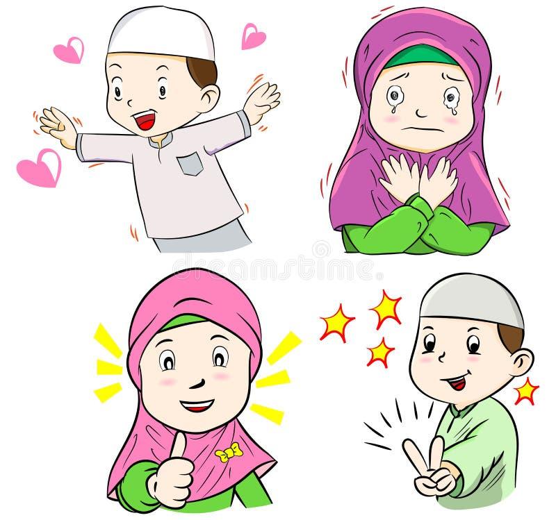 Συλλογή των μουσουλμανικών κινούμενων σχεδίων παιδιών διανυσματική απεικόνιση