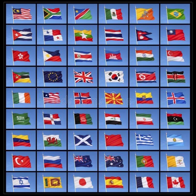 Συλλογή των παγκόσμιων σημαιών ελεύθερη απεικόνιση δικαιώματος