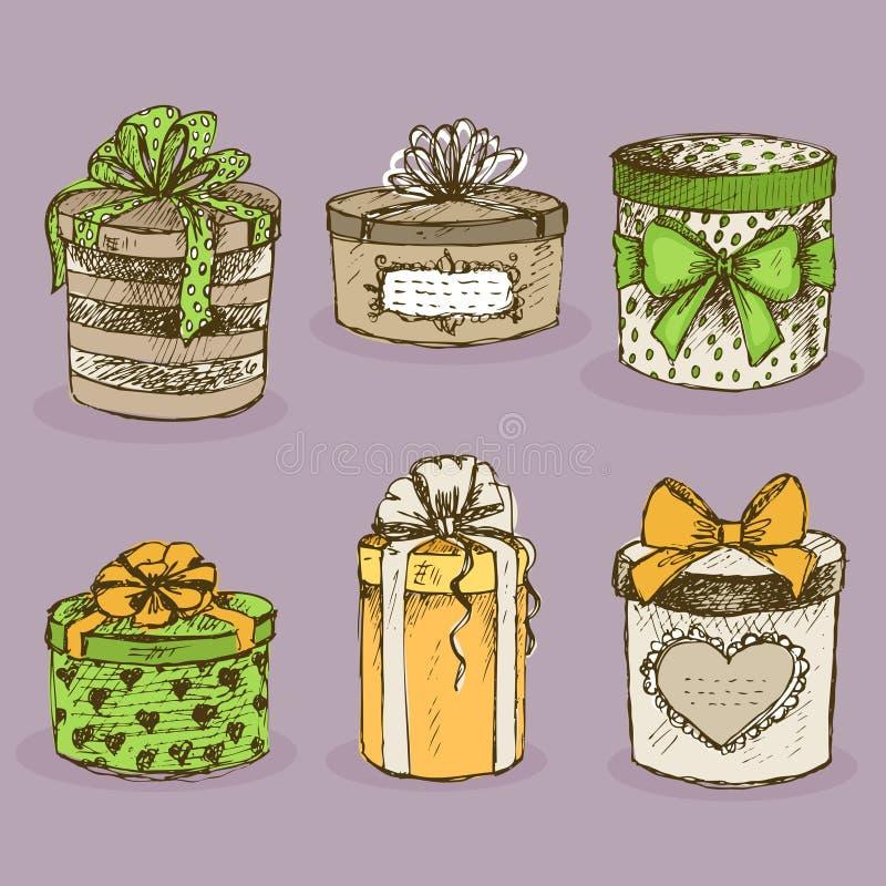 Συλλογή των παρόντων κιβωτίων δώρων με τα τόξα ελεύθερη απεικόνιση δικαιώματος