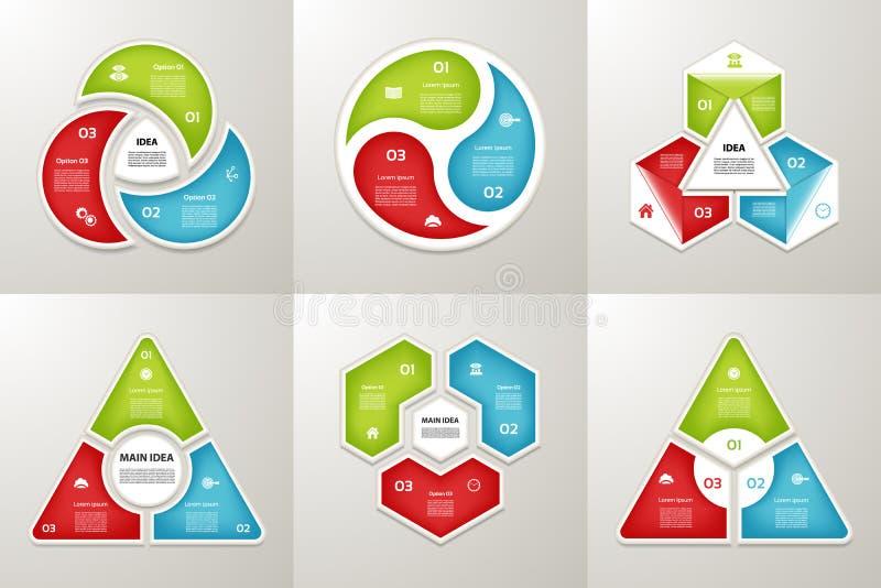 Συλλογή των προτύπων Infographic για την επιχείρηση Τρία βήματα που ανακυκλώνουν τα διαγράμματα επίσης corel σύρετε το διάνυσμα α διανυσματική απεικόνιση