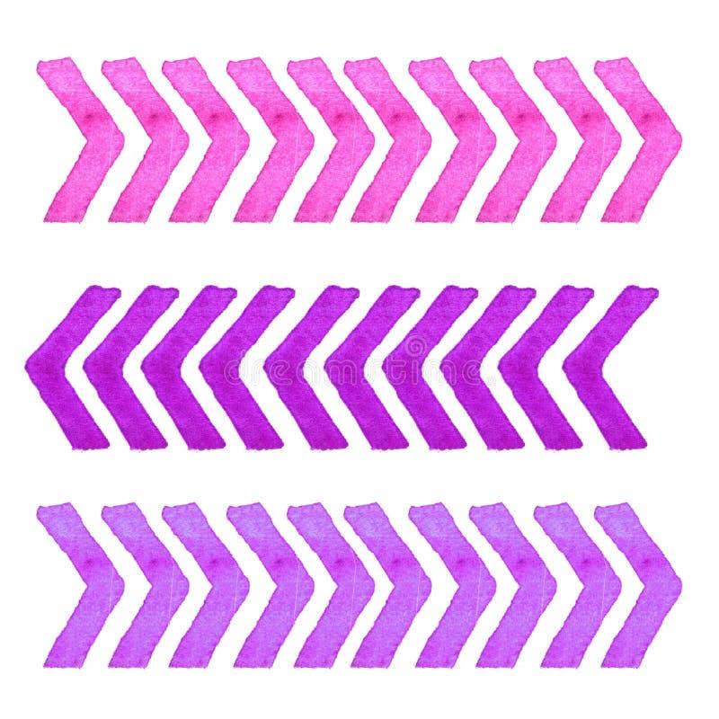 Συλλογή των στοιχείων σχεδίου watercolor που απομονώνονται στο άσπρο υπόβαθρο Καθορισμένα lavender λωρίδες ελεύθερη απεικόνιση δικαιώματος