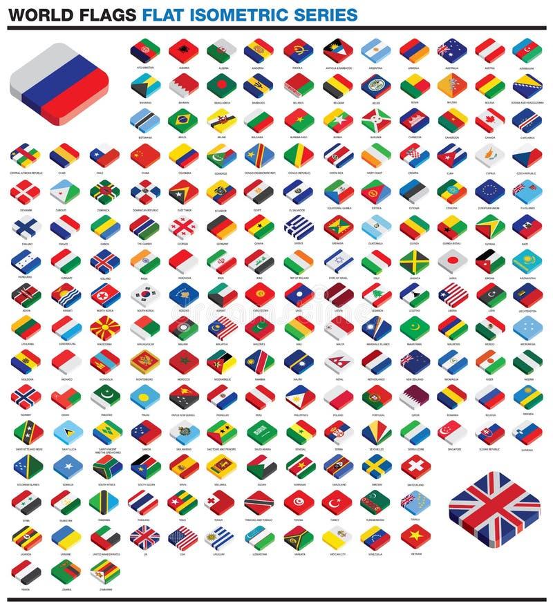 Συλλογή των τρισδιάστατων isometric επίπεδων σημαιών ύφους του κόσμου ελεύθερη απεικόνιση δικαιώματος