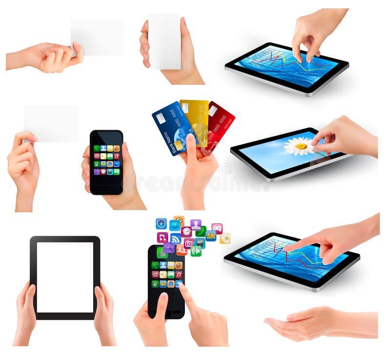Συλλογή των χεριών που κρατά τη διαφορετική επιχείρηση obj διανυσματική απεικόνιση