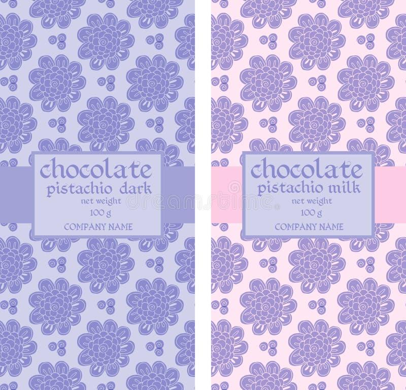 Συλλογή των floral άνευ ραφής σχεδίων για τη συσκευασία σοκολάτας διανυσματική απεικόνιση