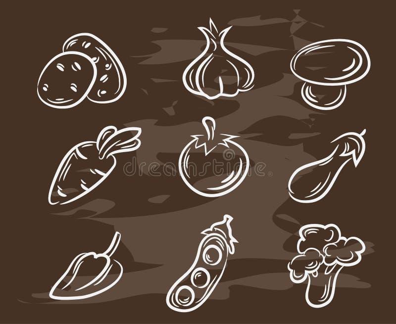 Συλλογή των hand-drawn λαχανικών Αναδρομικό εκλεκτής ποιότητας σχέδιο τροφίμων ύφους επίσης corel σύρετε το διάνυσμα απεικόνισης διανυσματική απεικόνιση
