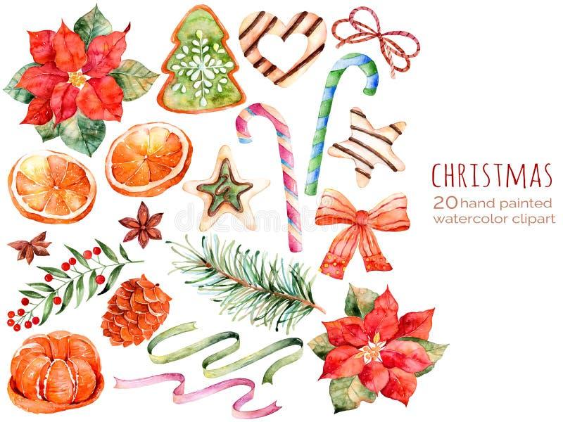 Συλλογή Χριστουγέννων: γλυκά, poinsettia, γλυκάνισο, πορτοκάλι, κώνος πεύκων, κορδέλλες, κέικ Χριστουγέννων