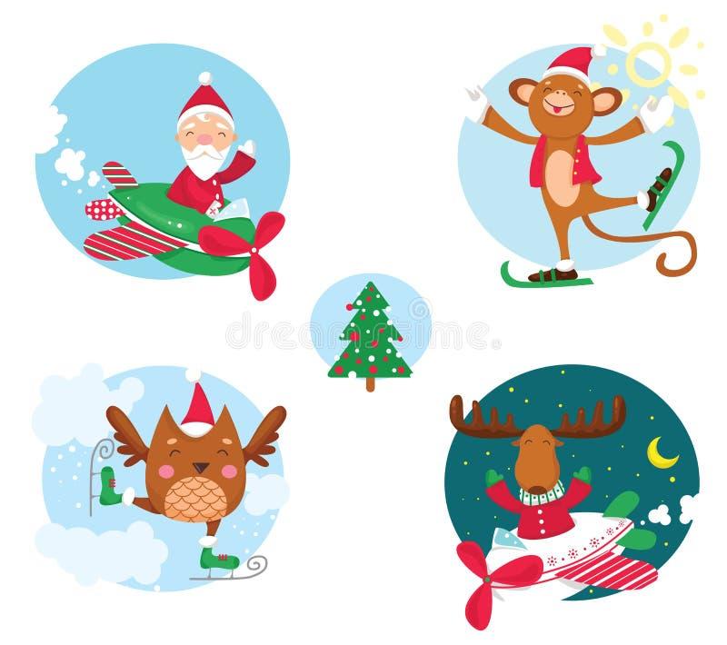 Συλλογή Χριστουγέννων των εύθυμων χαρακτήρων διακοπών ελεύθερη απεικόνιση δικαιώματος