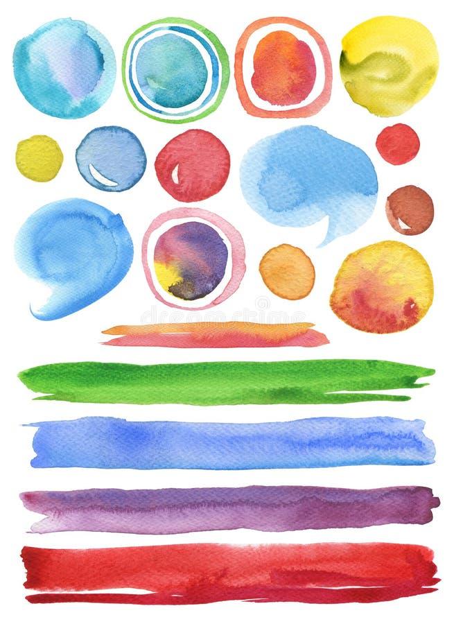 Συλλογή χρωματισμένου υποβάθρου στοιχείων σχεδίου watercolor του χέρι στοκ εικόνα