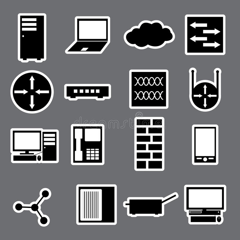 Συλλογή eps10 αυτοκόλλητων ετικεττών εικονιδίων δικτύων ελεύθερη απεικόνιση δικαιώματος