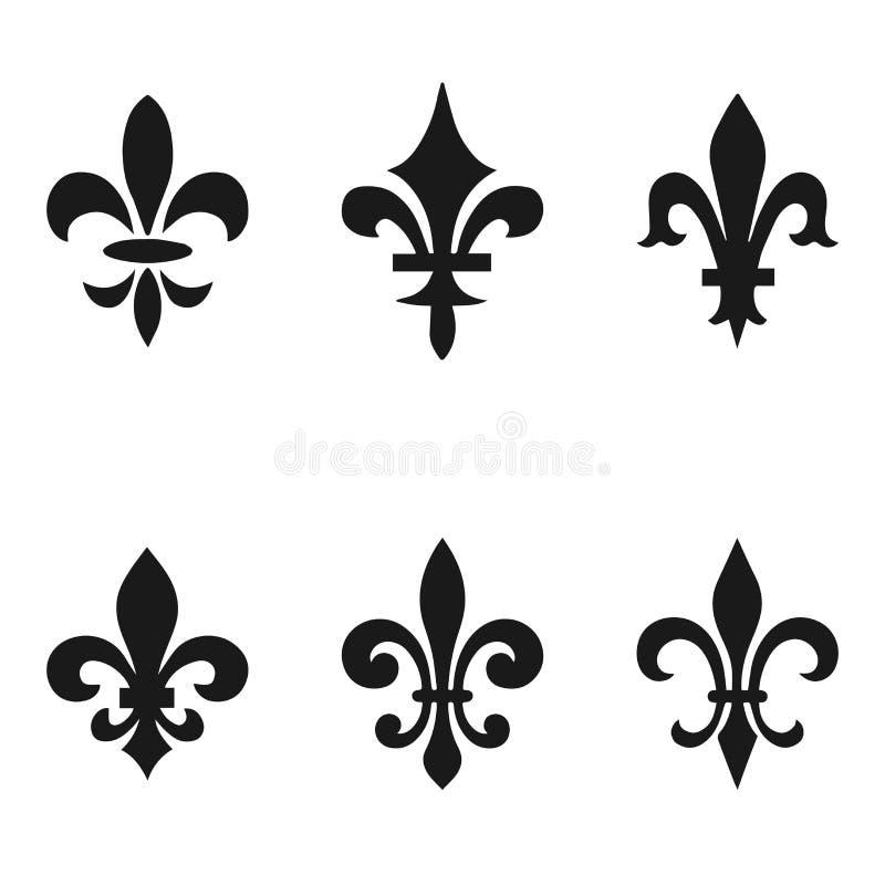 Συλλογή fleur de lis των συμβόλων, μαύρες σκιαγραφίες - εραλδικά σύμβολα επίσης corel σύρετε το διάνυσμα απεικόνισης Μεσαιωνικά σ ελεύθερη απεικόνιση δικαιώματος