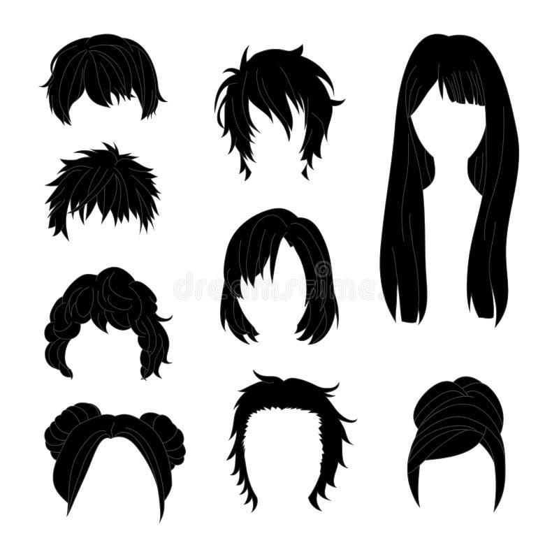 Συλλογή Hairstyle για το μαύρο σύνολο 2 σχεδίων τρίχας ανδρών και γυναικών διανυσματική απεικόνιση