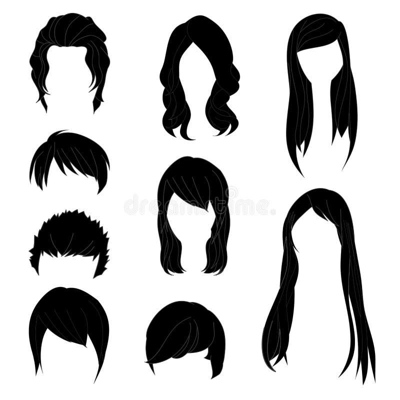 Συλλογή Hairstyle για το μαύρο σύνολο 1 χρώματος τρίχας ανδρών και γυναικών επίσης corel σύρετε το διάνυσμα απεικόνισης ελεύθερη απεικόνιση δικαιώματος