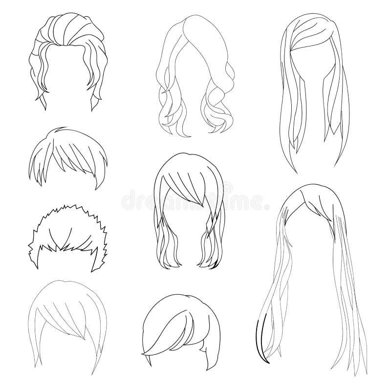 Συλλογή Hairstyle για το σύνολο 1 σχεδίων τρίχας ανδρών και γυναικών επίσης corel σύρετε το διάνυσμα απεικόνισης ελεύθερη απεικόνιση δικαιώματος
