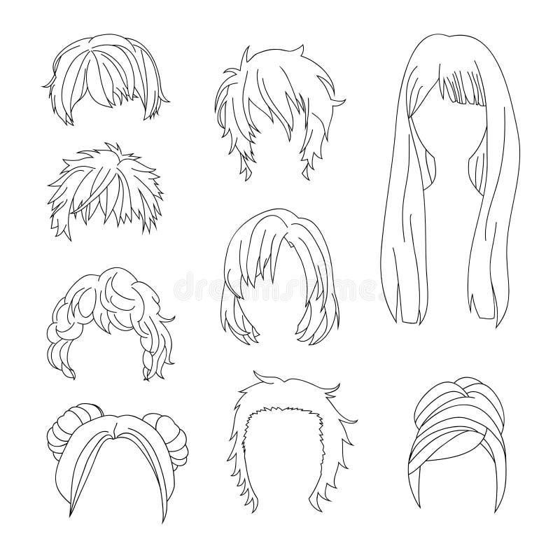 Συλλογή Hairstyle για το σύνολο 2 σχεδίων τρίχας ανδρών και γυναικών ελεύθερη απεικόνιση δικαιώματος