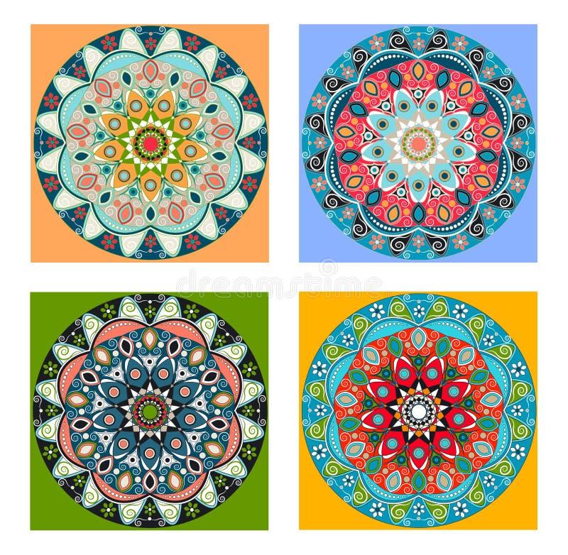 Συλλογή Mandalas διακοσμητικός τρύγος στ&o απεικόνιση αποθεμάτων