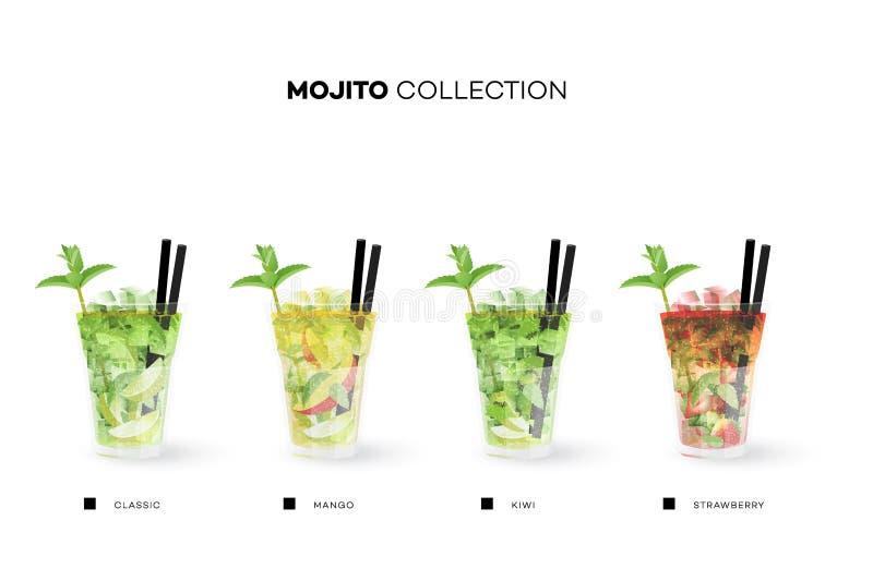 Συλλογή Mojito Διανυσματικό πρότυπο επιλογών με τα ρεαλιστικά κοκτέιλ ελεύθερη απεικόνιση δικαιώματος