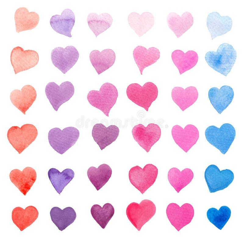 Συλλογή Watercolor των ζωηρόχρωμων καρδιών που απομονώνεται στο λευκό - οδοντώστε, κόκκινες, πορφυρές, μπλε αποχρώσεις στοκ φωτογραφία με δικαίωμα ελεύθερης χρήσης