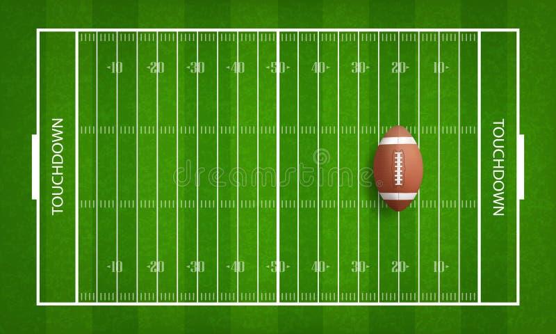 Σφαίρα αμερικανικού ποδοσφαίρου στο υπόβαθρο σχεδίων αγωνιστικών χώρων ποδοσφαίρου ελεύθερη απεικόνιση δικαιώματος