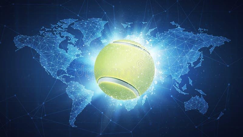 Σφαίρα αντισφαίρισης που πετά στο υπόβαθρο παγκόσμιων χαρτών ελεύθερη απεικόνιση δικαιώματος