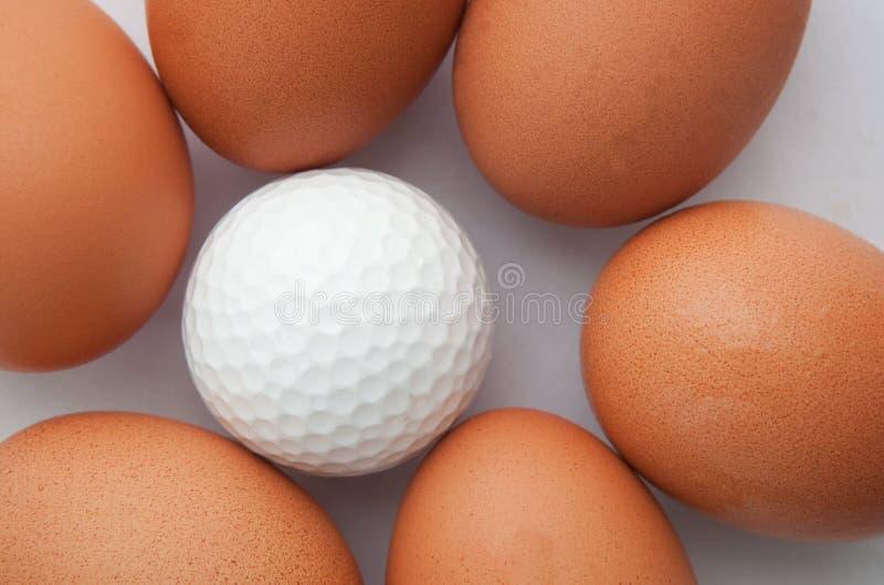 Σφαίρα γκολφ και ομάδα φρέσκων αυγών στοκ εικόνες