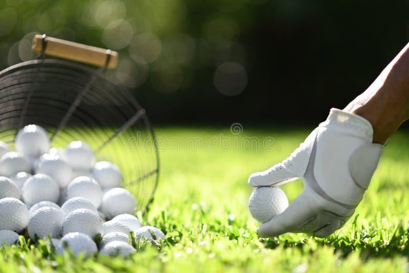 Σφαίρα γκολφ λαβής χεριών με το γράμμα Τ στην πράσινη χλόη για την πρακτική στοκ φωτογραφία με δικαίωμα ελεύθερης χρήσης
