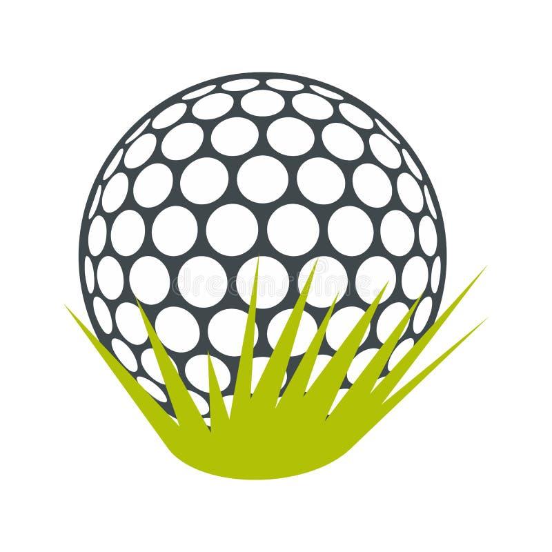Σφαίρα γκολφ στο πράσινο επίπεδο εικονίδιο χλόης απεικόνιση αποθεμάτων