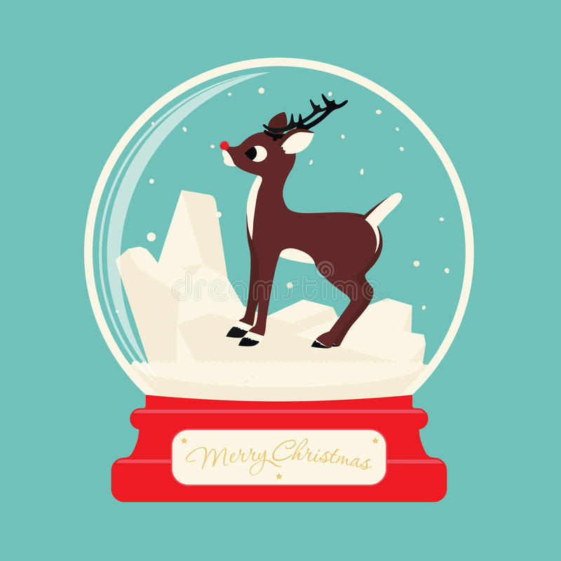 Σφαίρα γυαλιού Χαρούμενα Χριστούγεννας με τον τάρανδο Rudolf απεικόνιση αποθεμάτων