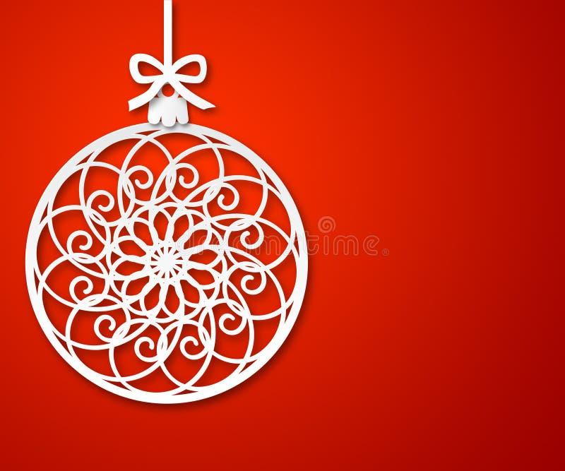 Σφαίρα εγγράφου Χριστουγέννων στο κόκκινο υπόβαθρο 2 διανυσματική απεικόνιση