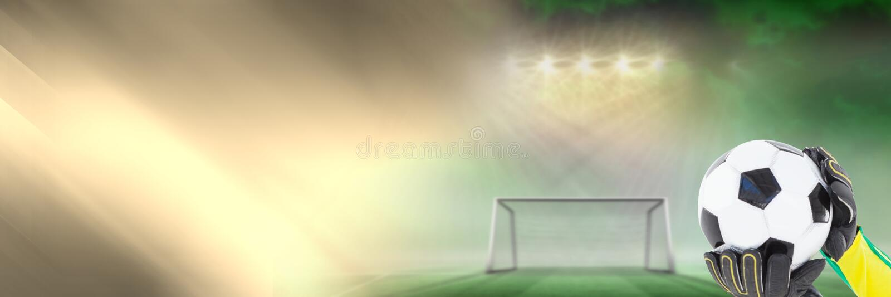 Σφαίρα εκμετάλλευσης τερματοφυλακάων ποδοσφαίρου στο στόχο με τη μετάβαση απεικόνιση αποθεμάτων