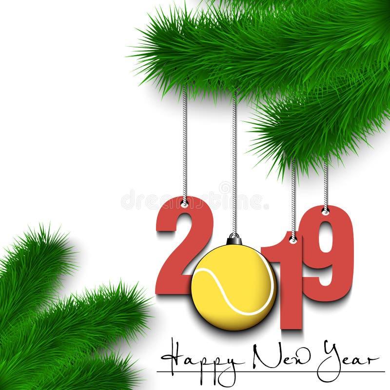 Σφαίρα και 2019 αντισφαίρισης σε έναν κλάδο χριστουγεννιάτικων δέντρων διανυσματική απεικόνιση