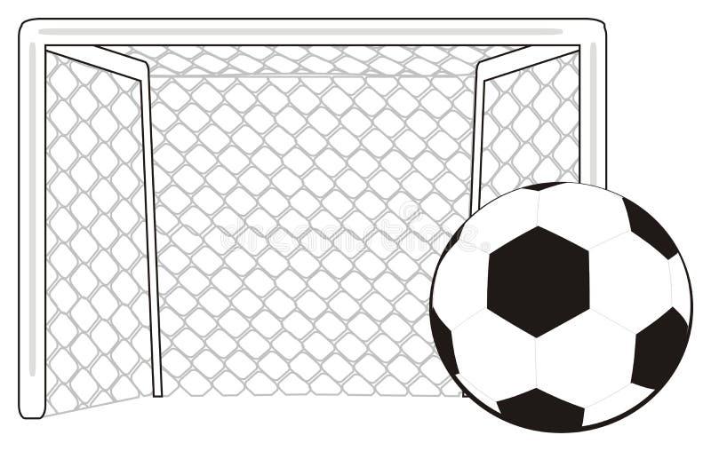 Σφαίρα και πύλη ποδοσφαίρου ελεύθερη απεικόνιση δικαιώματος