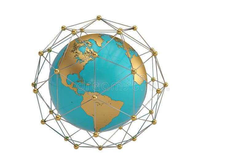 Σφαίρα και τα μόρια στον κύκλο γύρω από τη σύνθεση τρισδιάστατο illu στοκ φωτογραφία